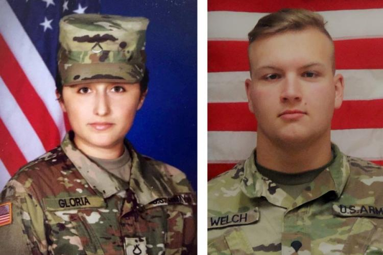 Pfc. Marissa Jo Gloria, 25, a combat engineer at Camp Humphreys, South Korea, was found dead in her barracks on Saturday, March 21, 2020. Spc. Clay Welch, 20, a combat medic assigned to the base, was found dead in his room the following day. U.S. ARMY