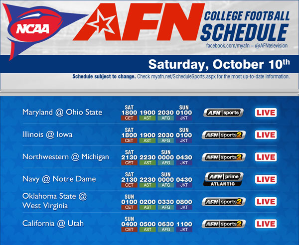 college fottball week 9 college football schedule